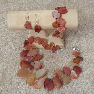Barse Agate Stone necklace ,bracelet and earrings